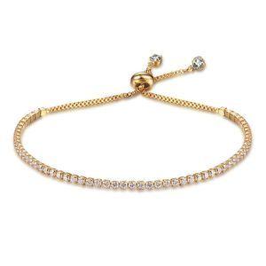 Tennis Bracelet Gold Swarovski Elements Adjust New